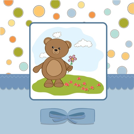baptism background: happy birthday card with teddy bear and flower