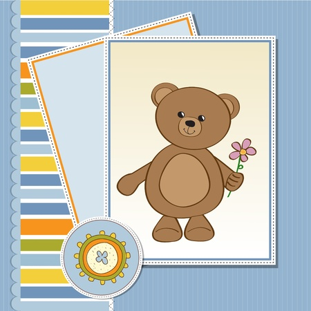 child birth: happy birthday card with teddy bear and flower