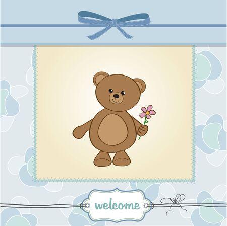 happy birthday card with teddy bear and flower  Vector