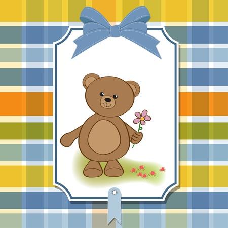 happy birthday card with teddy bear and flower Stock Vector - 11842022