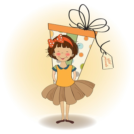 big girls: cute little girl hidden behind boxes of gifts. happy birthday greeting card
