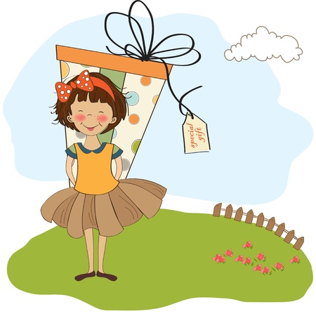 color conceal: cute little girl hidden behind boxes of gifts. happy birthday greeting card