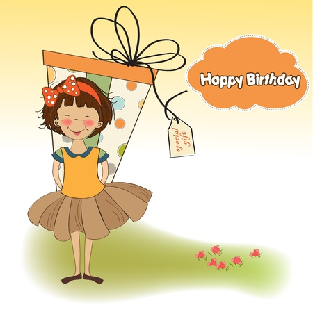 baby romantic: cute little girl hidden behind boxes of gifts. happy birthday greeting card