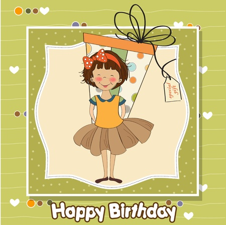 sweet baby girl: cute little girl hidden behind boxes of gifts. happy birthday greeting card