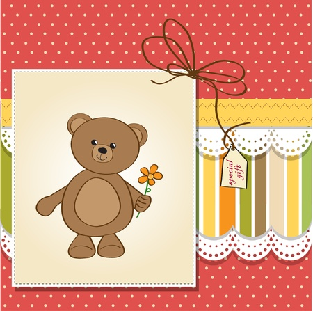 baptism: happy birthday card with teddy bear and flower Illustration