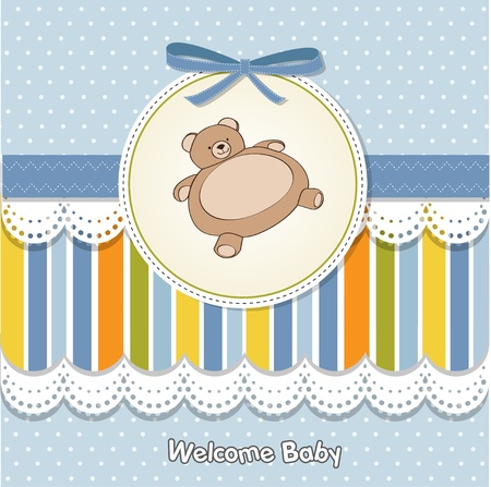 baby shower card with teddy Stock Vector - 11842079