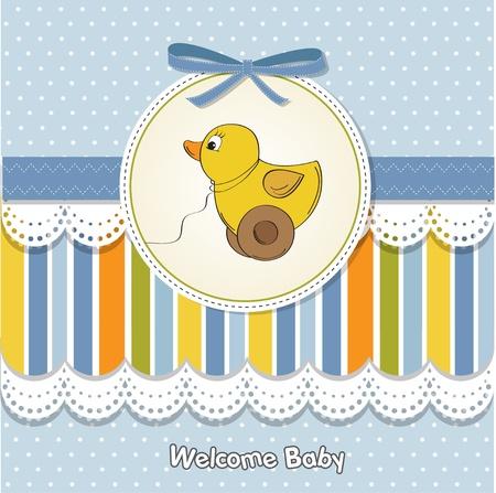 baptism: Bienvenido beb� tarjeta con pato de juguete
