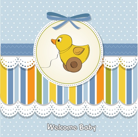 welcome baby card with duck toy  Stock Vector - 11842083