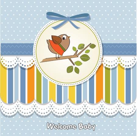 little bird: Bienvenido beb� tarjeta con aves poco gracioso