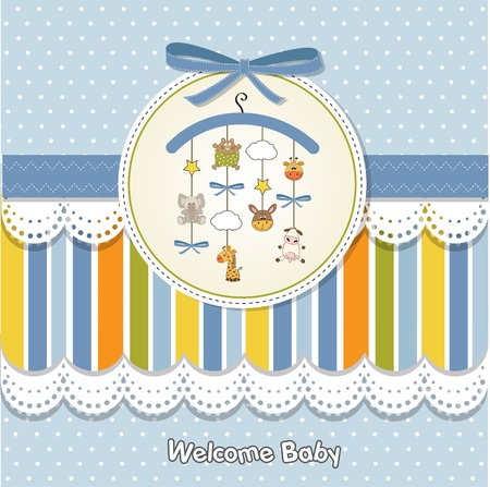 baby boy shower: welcome baby announcement card