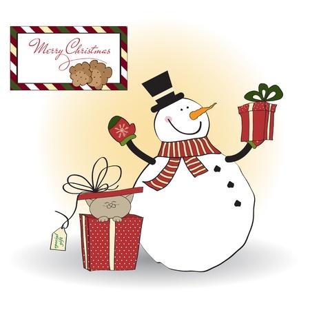 Tarjeta de felicitaci�n de Navidad con el mu�eco de nieve
