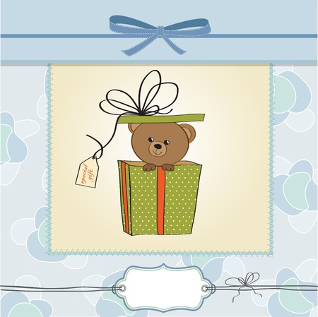 special events: birthday greeting card with teddy bear