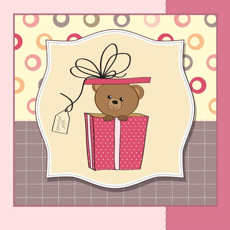 birthday greeting card with teddy bear  Vector