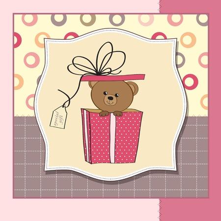 playfulness: birthday greeting card with teddy bear