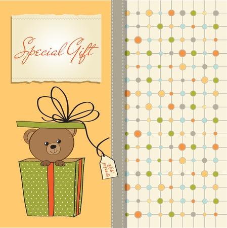 cute girl with teddy bear: birthday greeting card with teddy bear