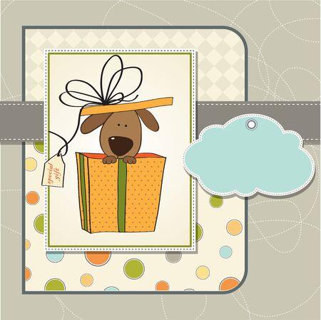 funny birthday card with dog  Ilustração