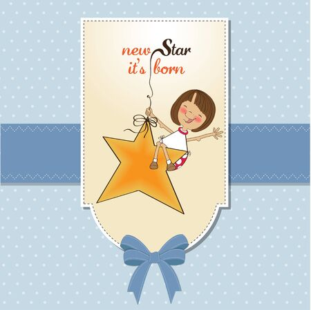 baby romantic: new star its born.welcome baby card Illustration