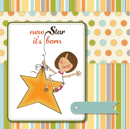 welcome smile: new star its born.welcome baby card Illustration