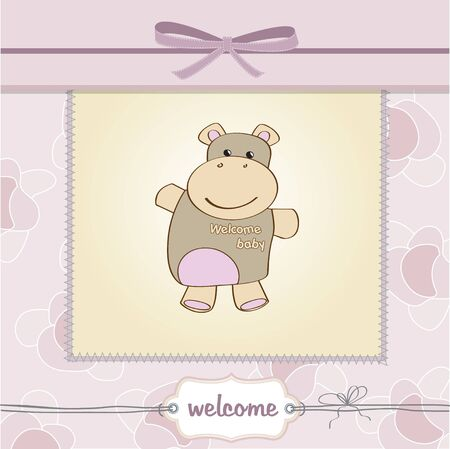 childish baby shower card with hippo toy  Illustration