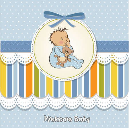 nestling: romantic baby boy shower card