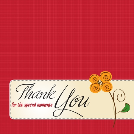 thank you greeting card with flower  Vector