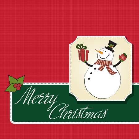 Christmas greeting card with snowman Stock Vector - 12466424