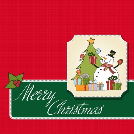 Christmas greeting card with snowman Stock Vector - 12466427