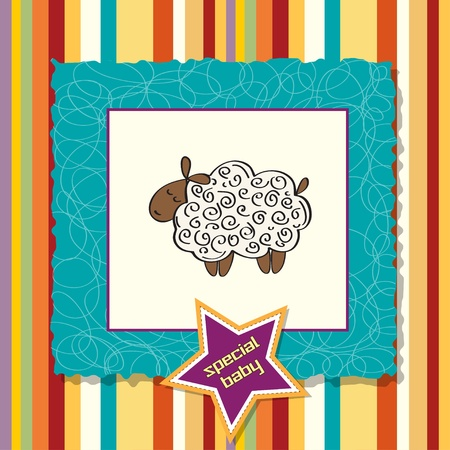 special events: cute baby shower card with sheep  Illustration