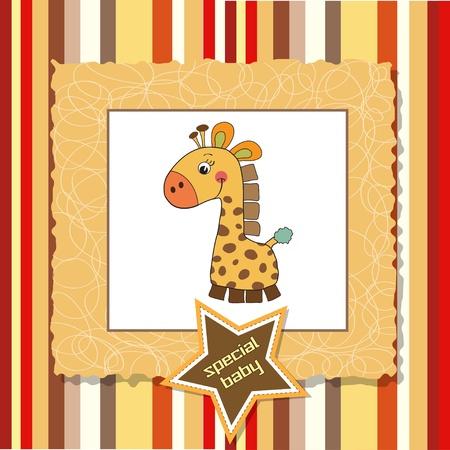 cute boy: new baby announcement card with giraffe
