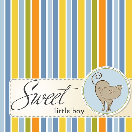 baby shower card with cat  Stock Vector - 12466341