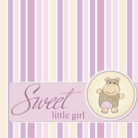hippopotamus: beb� infantil, tarjeta de ducha con hipop�tamos juguete Vectores