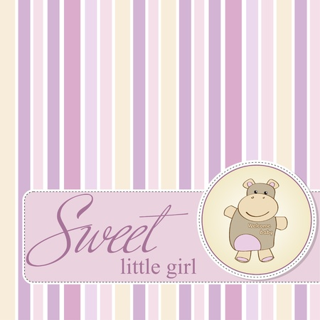 cute baby girls: childish baby shower card with hippo toy  Illustration