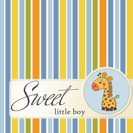 jirafa cute: nuevo beb� anuncio de la tarjeta con la jirafa