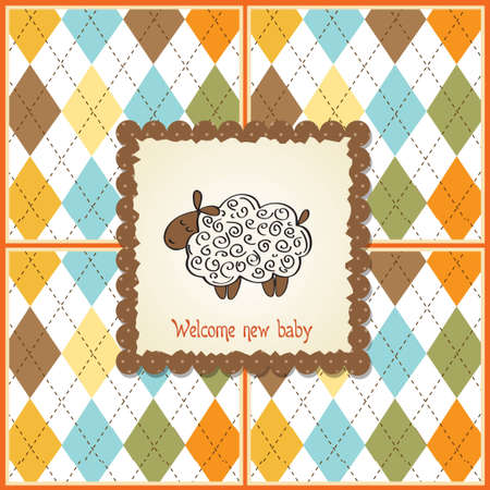 cute baby shower card with sheep  Stock Vector - 12599464