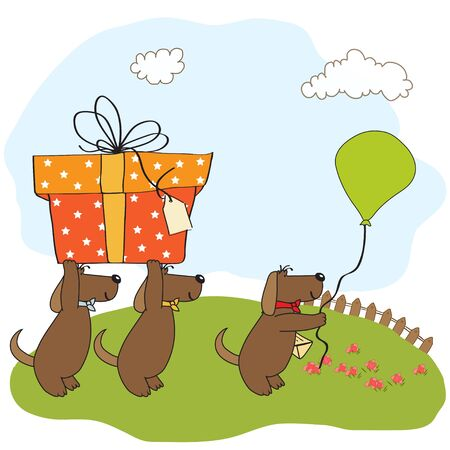 give thanks to: three dogs that offer a big gift  birthday greeting card