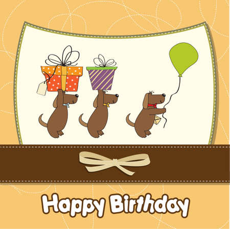 three dogs that offer a big gift  birthday greeting card  Vector