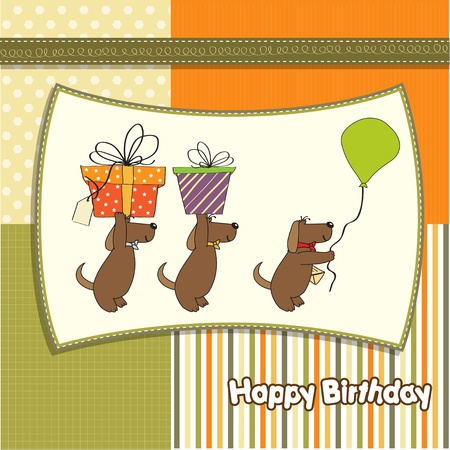 customize: three dogs that offer a big gift  birthday greeting card