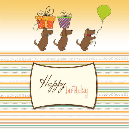 three dogs that offer a big gift birthday greeting card