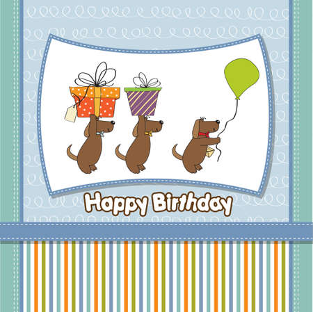 specifically: three dogs that offer a big gift  birthday greeting card