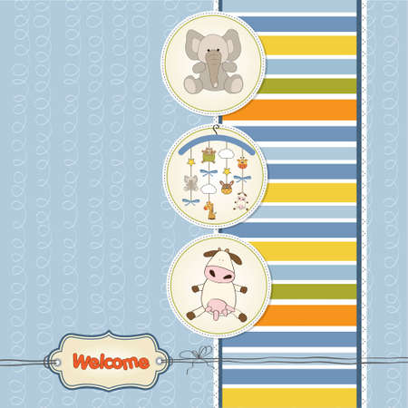 strip a cow: baby shower card with toys