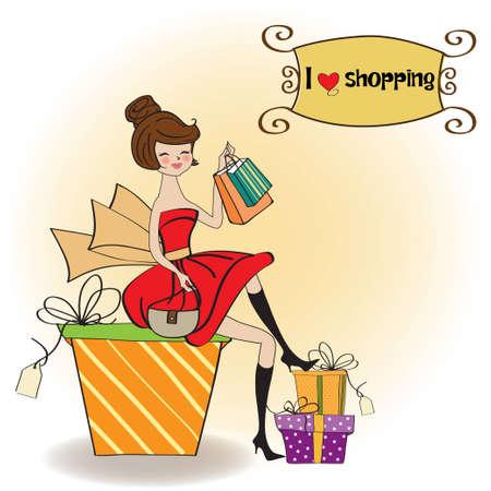 sentarse: muy joven que está contenta de que ella se fue de compras