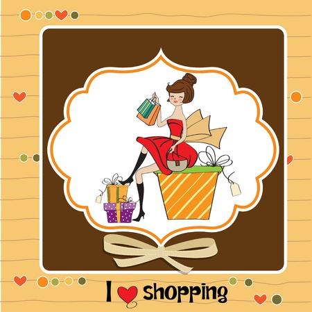 jolie jeune femme qui est heureuse de constater qu'elle fait du shopping