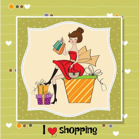 jolie jeune femme qui est heureuse de constater qu'elle fait du shopping Vecteurs