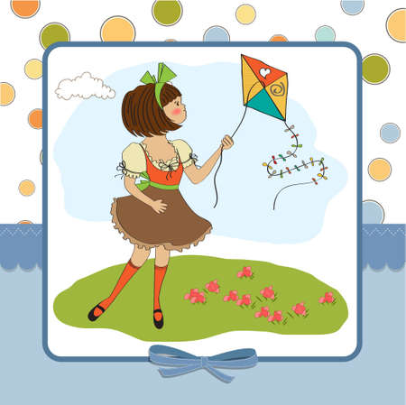 cute teens who are playing with a kite Stock Vector - 12599447