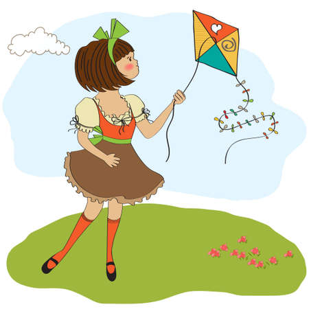 cute teens who are playing with a kite