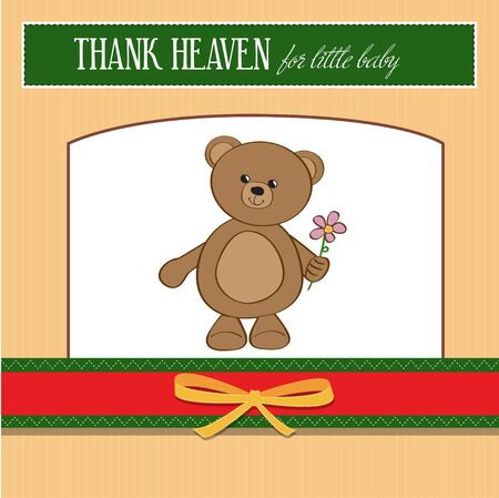 new baby announcement card with teddy bear and flower  Vector
