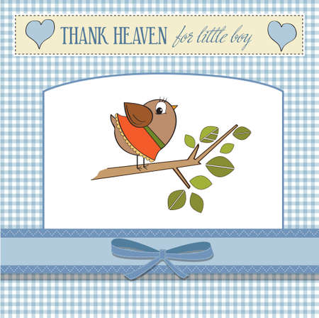 welcome baby boy card with funny little bird  Vector