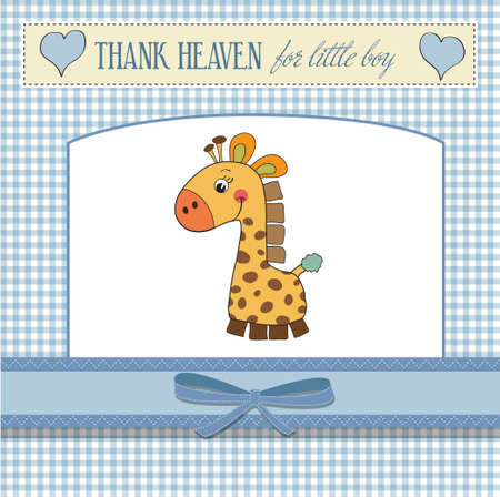 new baby boy announcement card with giraffe  Vector
