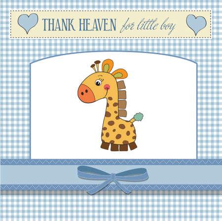chico nuevo aviso del bebé tarjeta con la jirafa