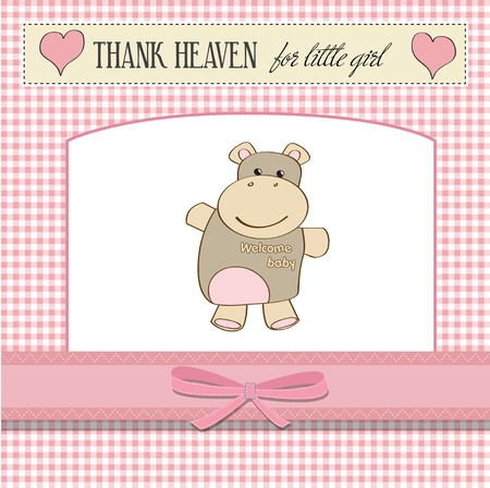 childish baby announcement card with hippo toy Vector